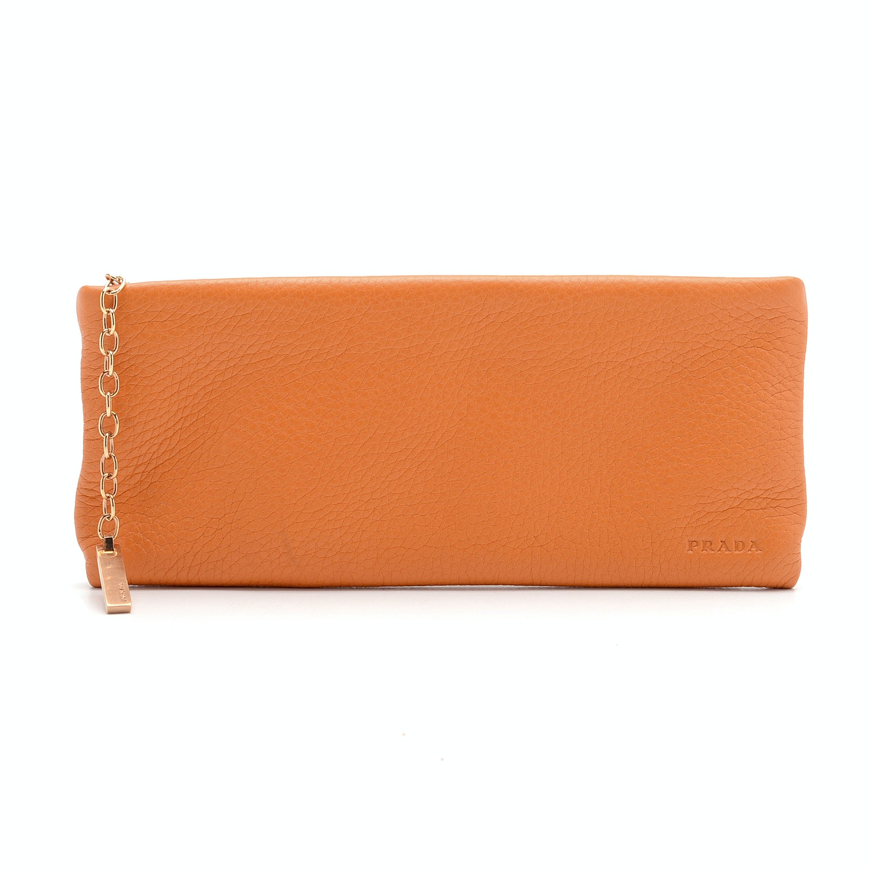 2001 Prada Orange Daino Leather Clutch