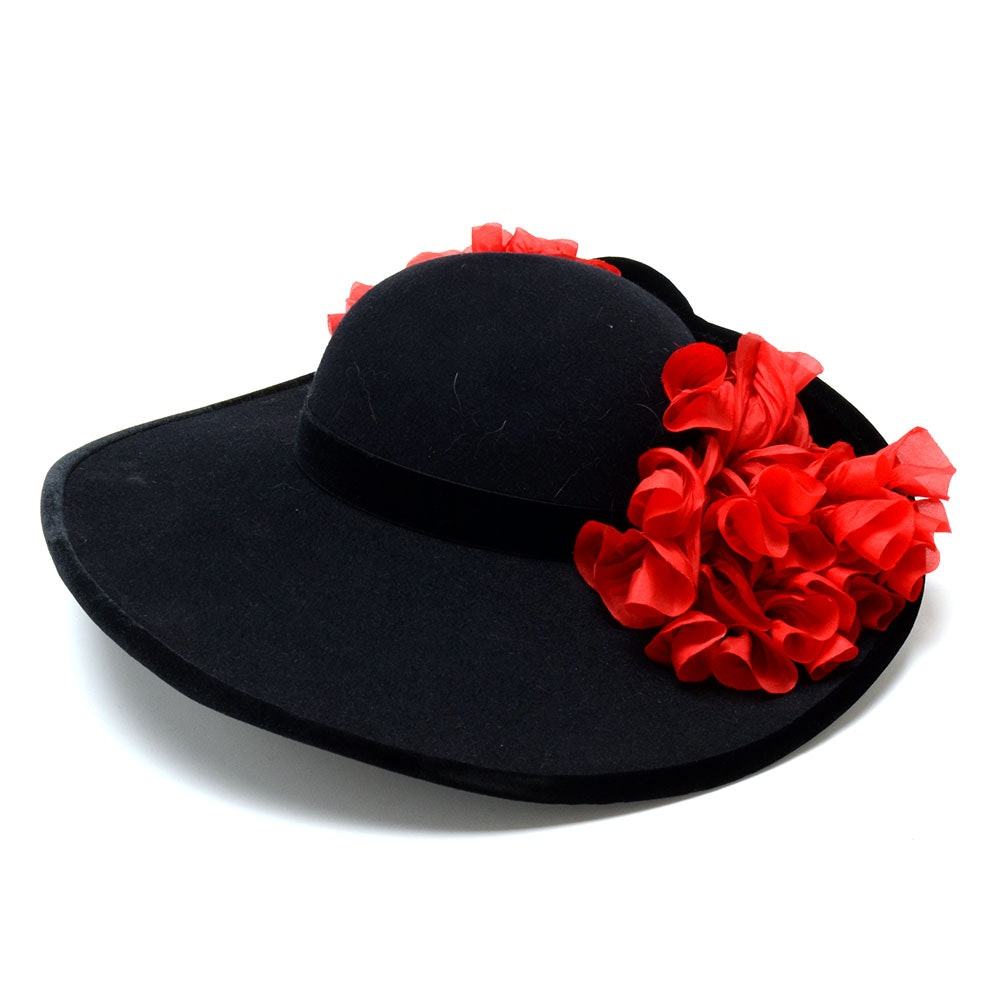 Tracey Tooker of New York Fine Millinery Black Imported Fur Felt Picture Hat with Black Velvet Ribbon and Red Florals