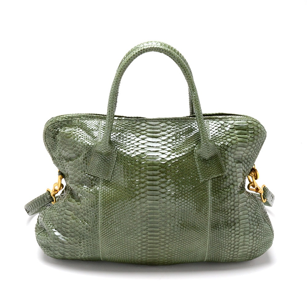 LAI Python Skin Leather Tote in Sage Green