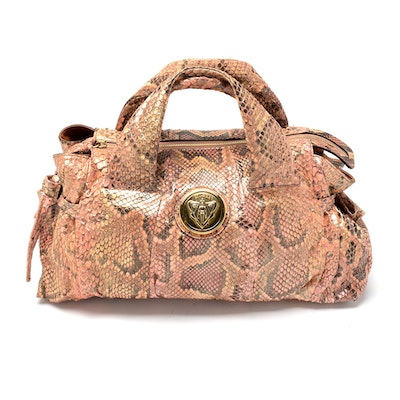 Gucci Python Snakeskin Leather Handbag