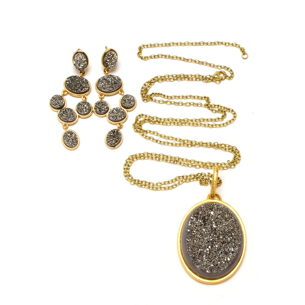 Jennifer Miller Druzy Quartz Necklace and Pierced Chandelier Earrings in Gold Plate Finish