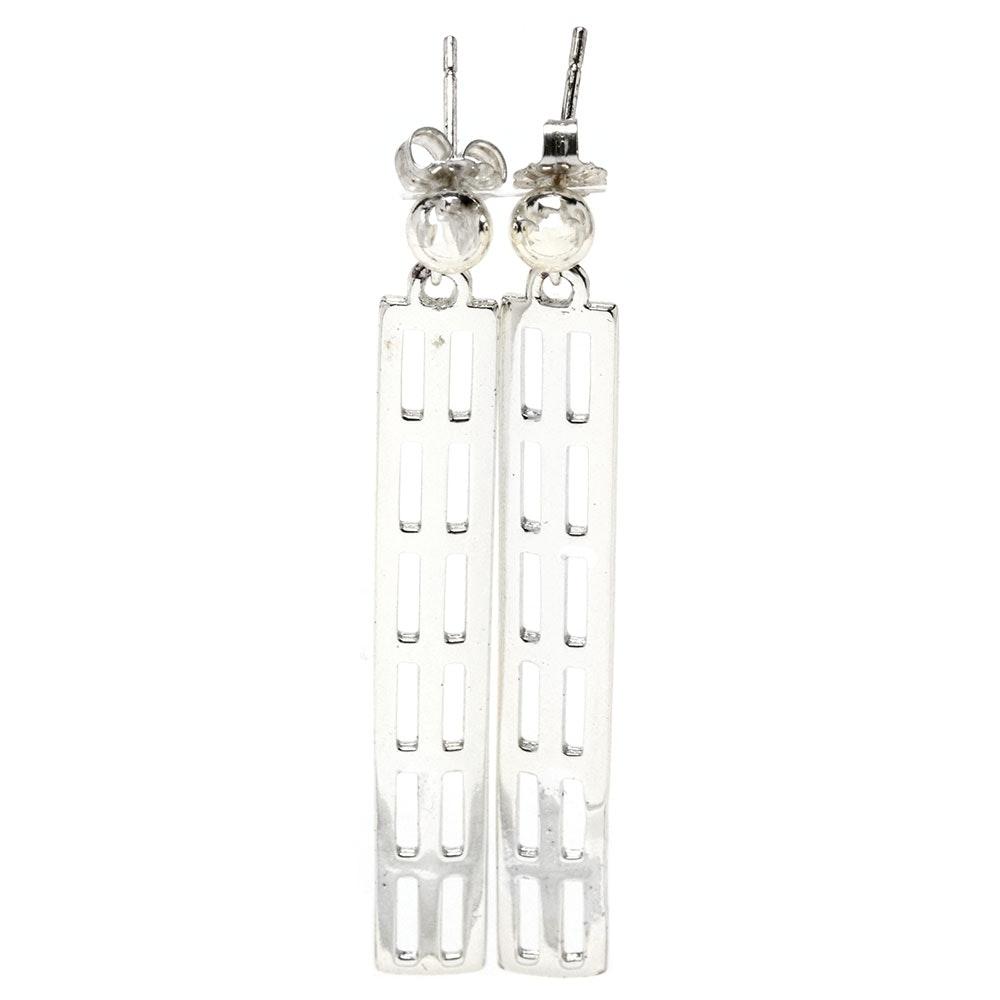 Sterling Silver Pierced Openwork Dangle Earrings