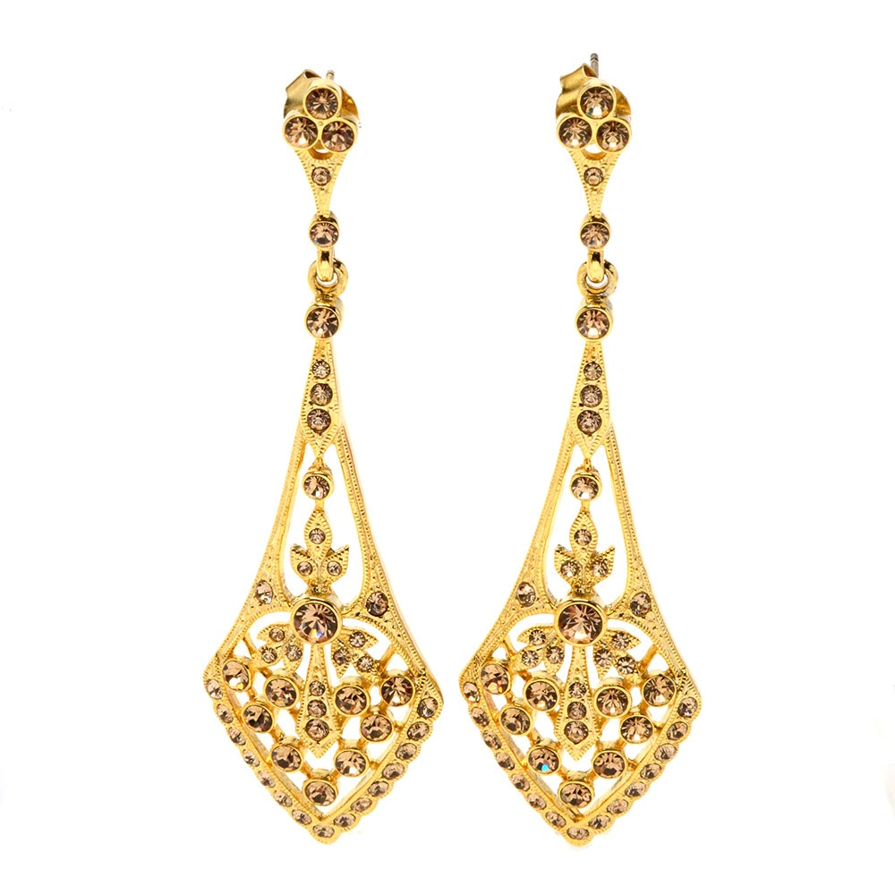Sterling Silver Vermeil Swarovski Crystal Encrusted Pierced Openwork Drop Earrings