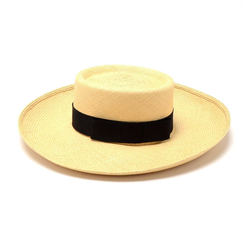 Suzanne of New York Fine Custom Made Millinery Natural Straw Hat with Black Grosgrain Ribbon Band and Signature Hat Box