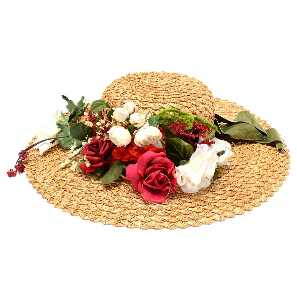 Suzanne of New York Fine Custom Made Millinery Natural Straw Picture Hat with Florals and Signature Hat Box