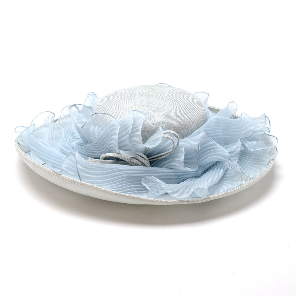Suzanne of New York Fine Custom Made Millinery Pale Blue Cellophane Picture Hat with Pleated Chiffon and Signature Hat Box
