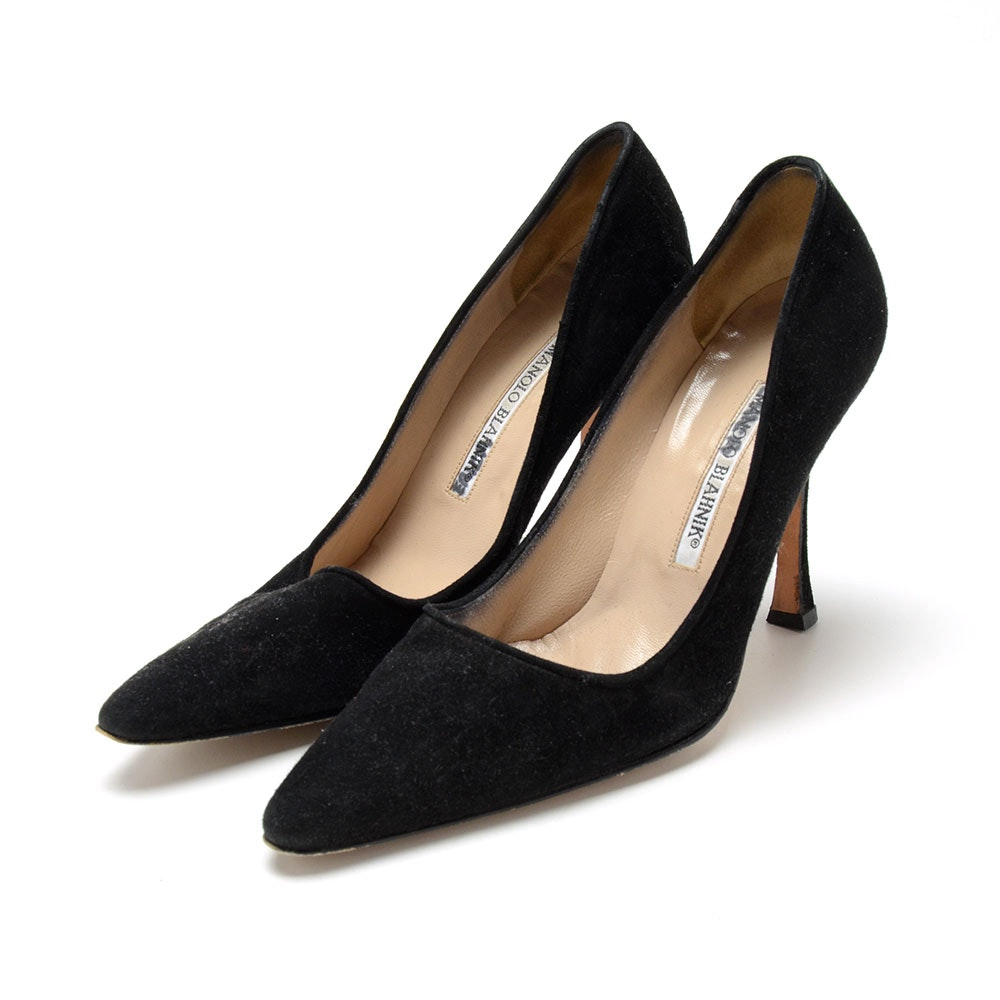 Manolo Blahnik Black Suede Leather Dress Pumps