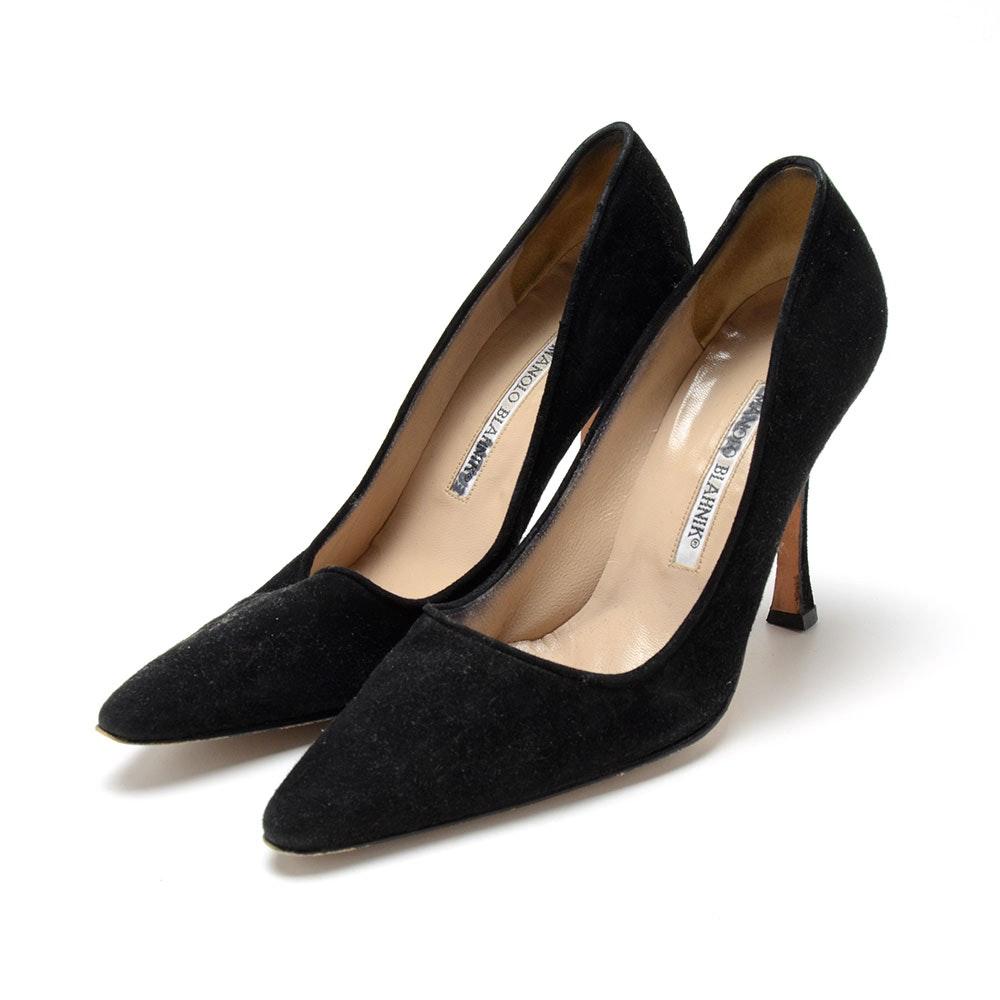 Manolo Blahnik Black Suede Leather Dress Pumps