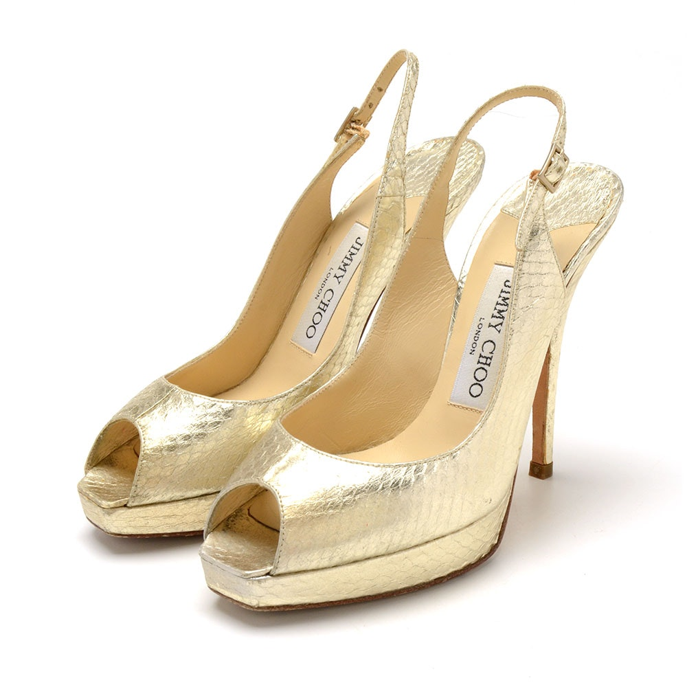 Jimmy Choo of London Gold Metallic Snakeskin Embossed Leather Peep Toe Platform Dress Sandals