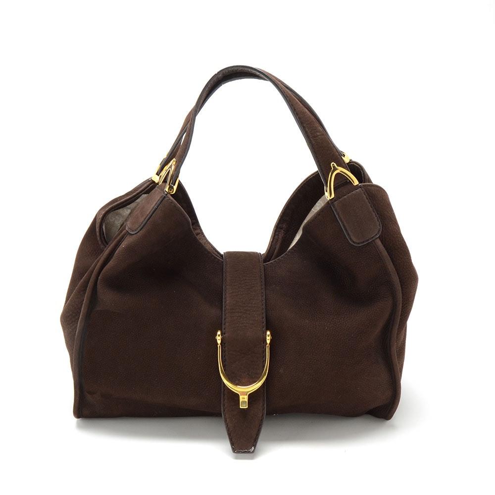 Gucci Stirrup Brown Nubuck Leather Tote
