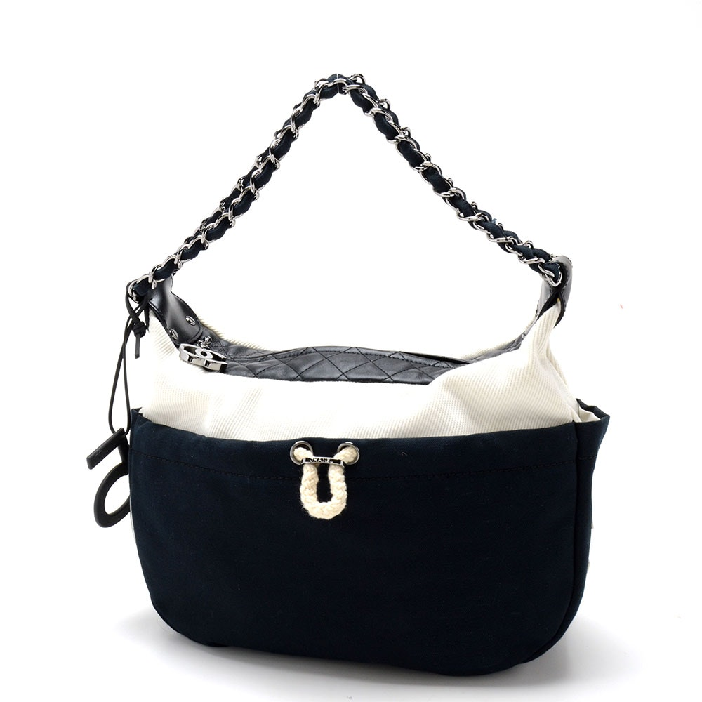 Chanel Black and White Canvas and Leather Handbag