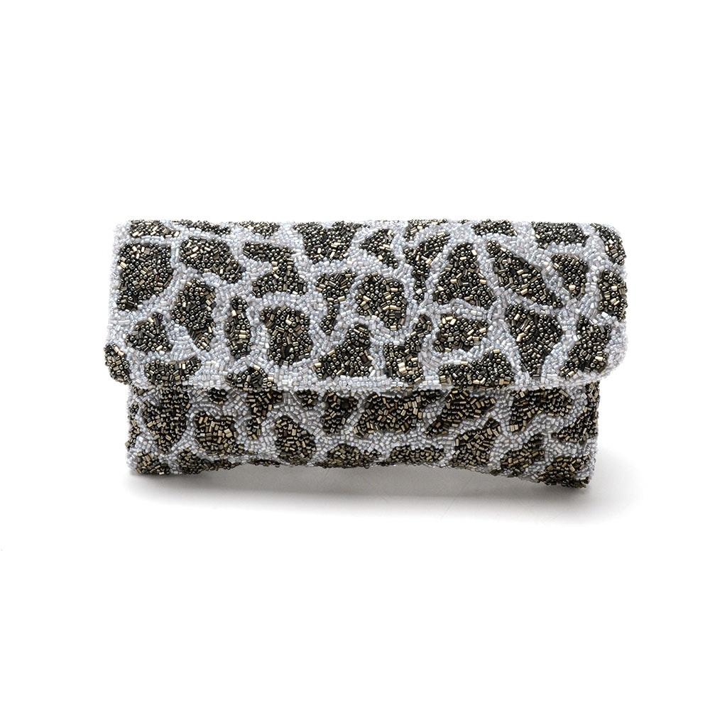 Moyna Giraffe Beaded Clutch