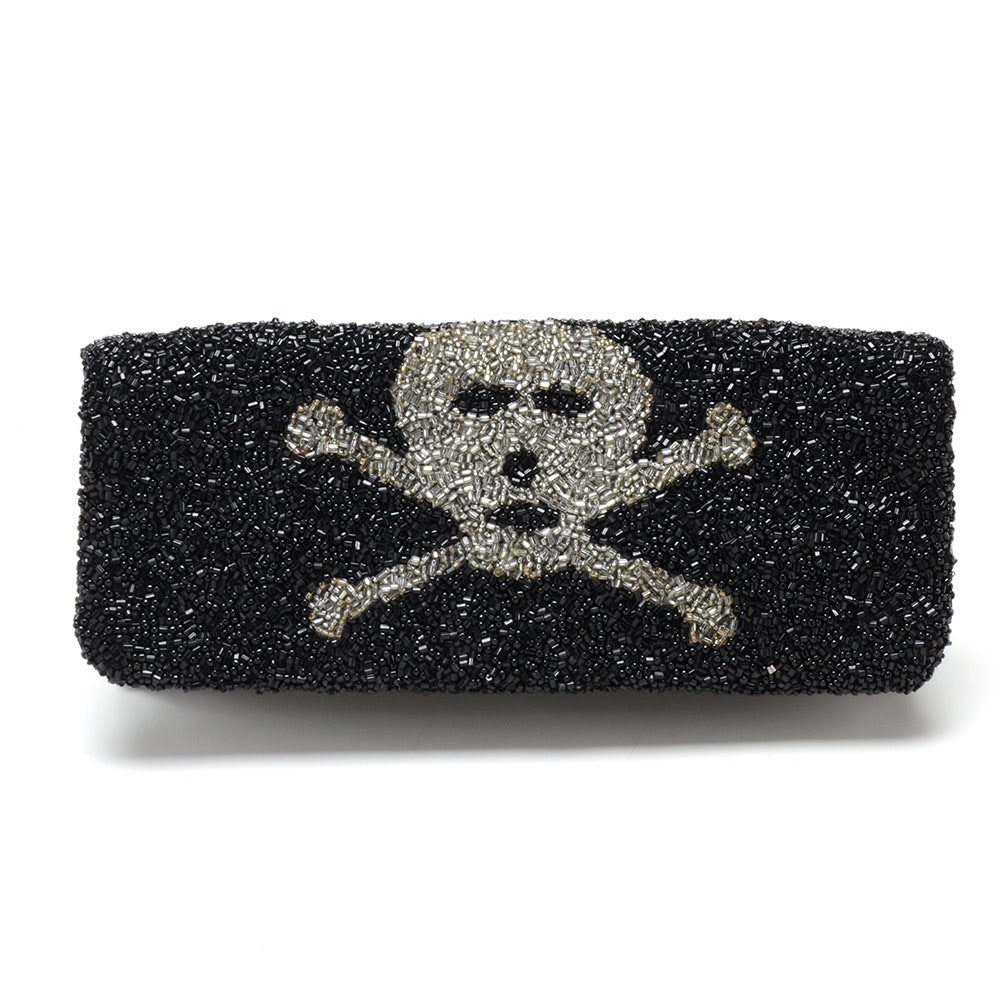Moyna Skull and Crossbones Beaded Fold-Over Clutch