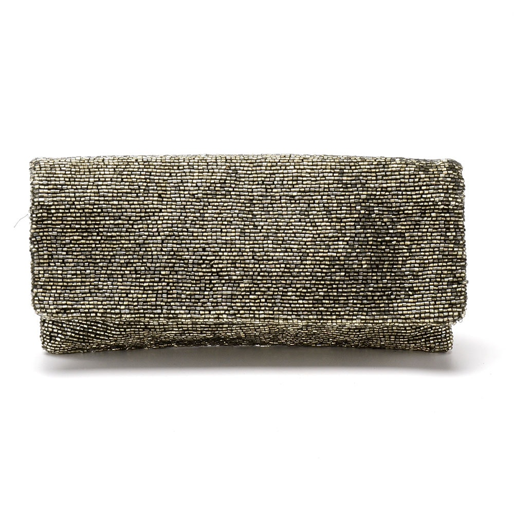 Moyna Silver Beaded Foldover Clutch