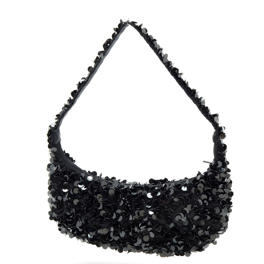 Moyna Black Crescent Shaped Small Handbag