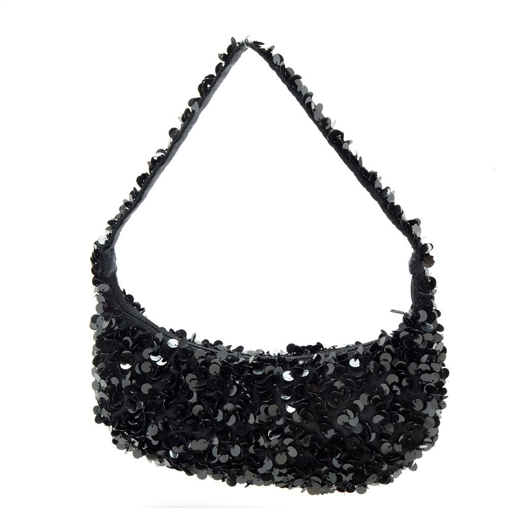 Moyna Black Crescent Shaped Small Handbag