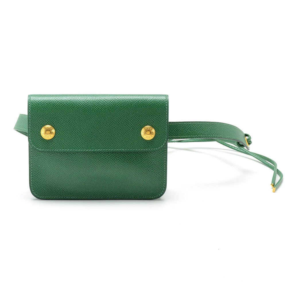 Hermès Green Leather Pouch Fanny Pack Belt with Signature Snaps