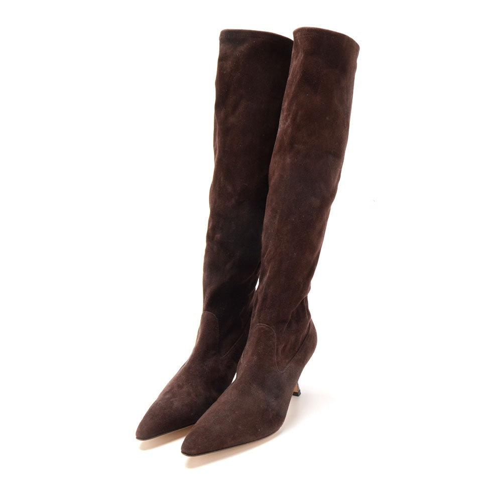Pair of Manolo Blahnik Cocoa Brown Suede Leather Below-The-Knee Pull-Up Boots