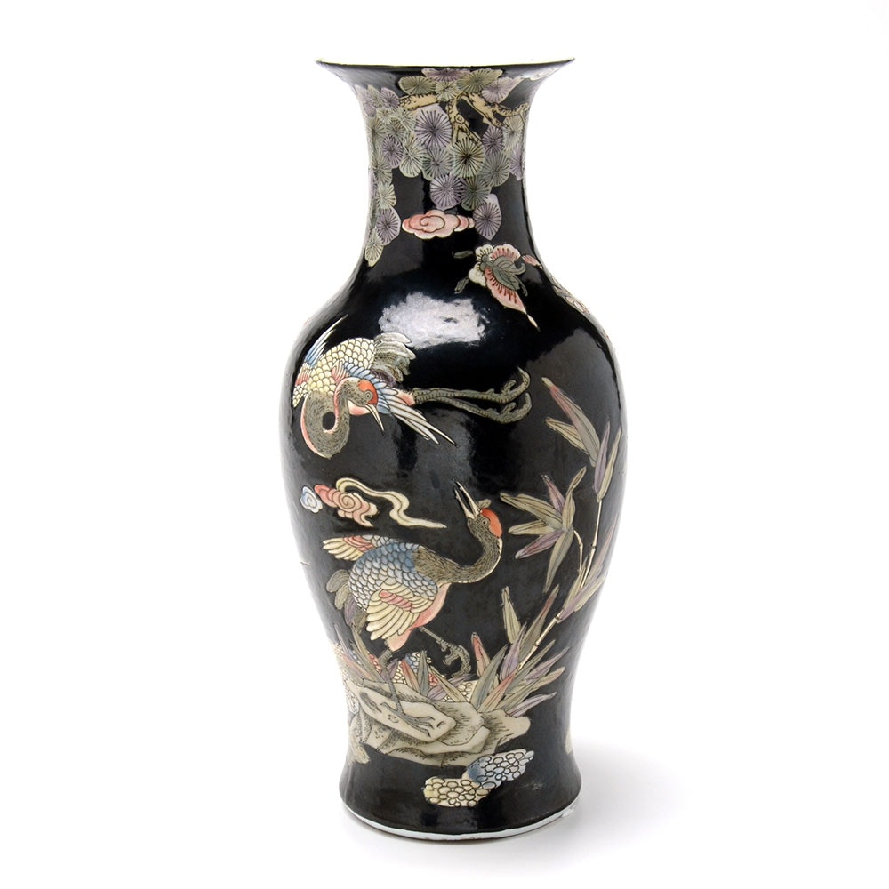 Chinese Famille Noir Hand Decorated Bulbous Vase