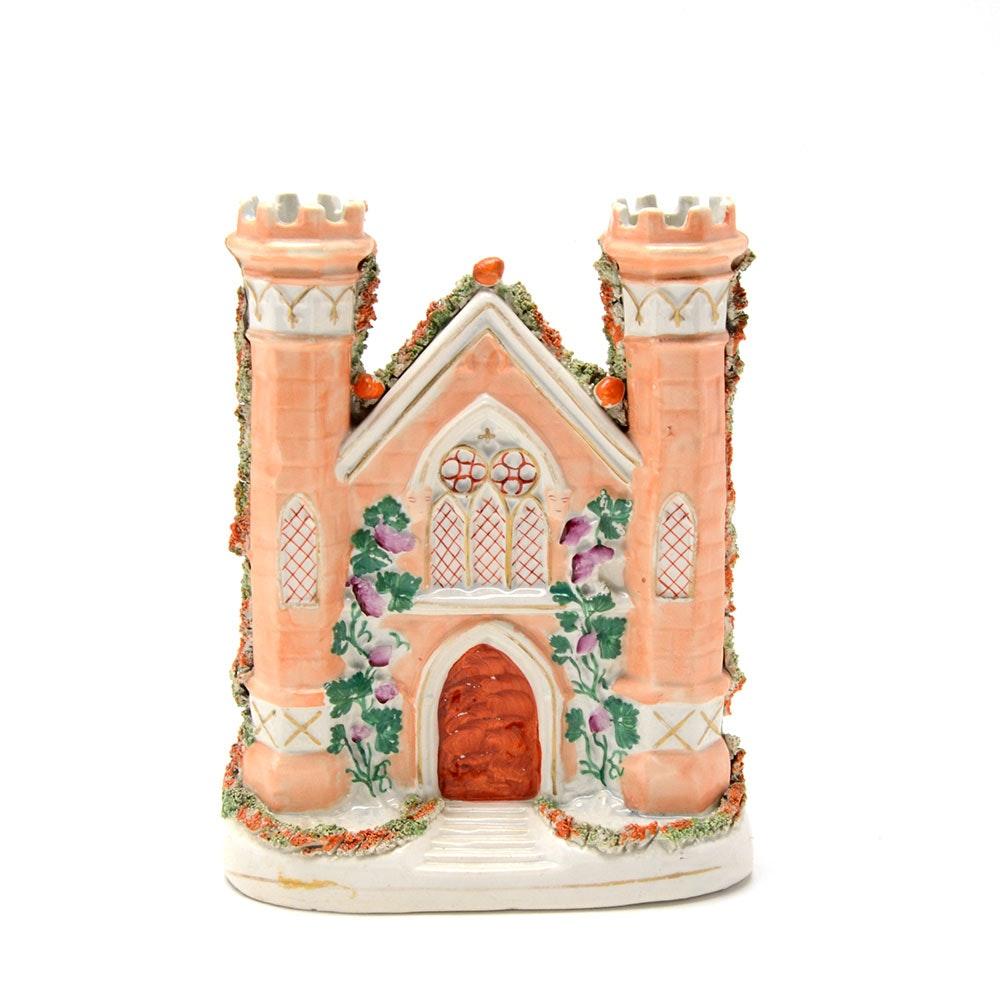 Eary Staffordshire Church Spill Vase