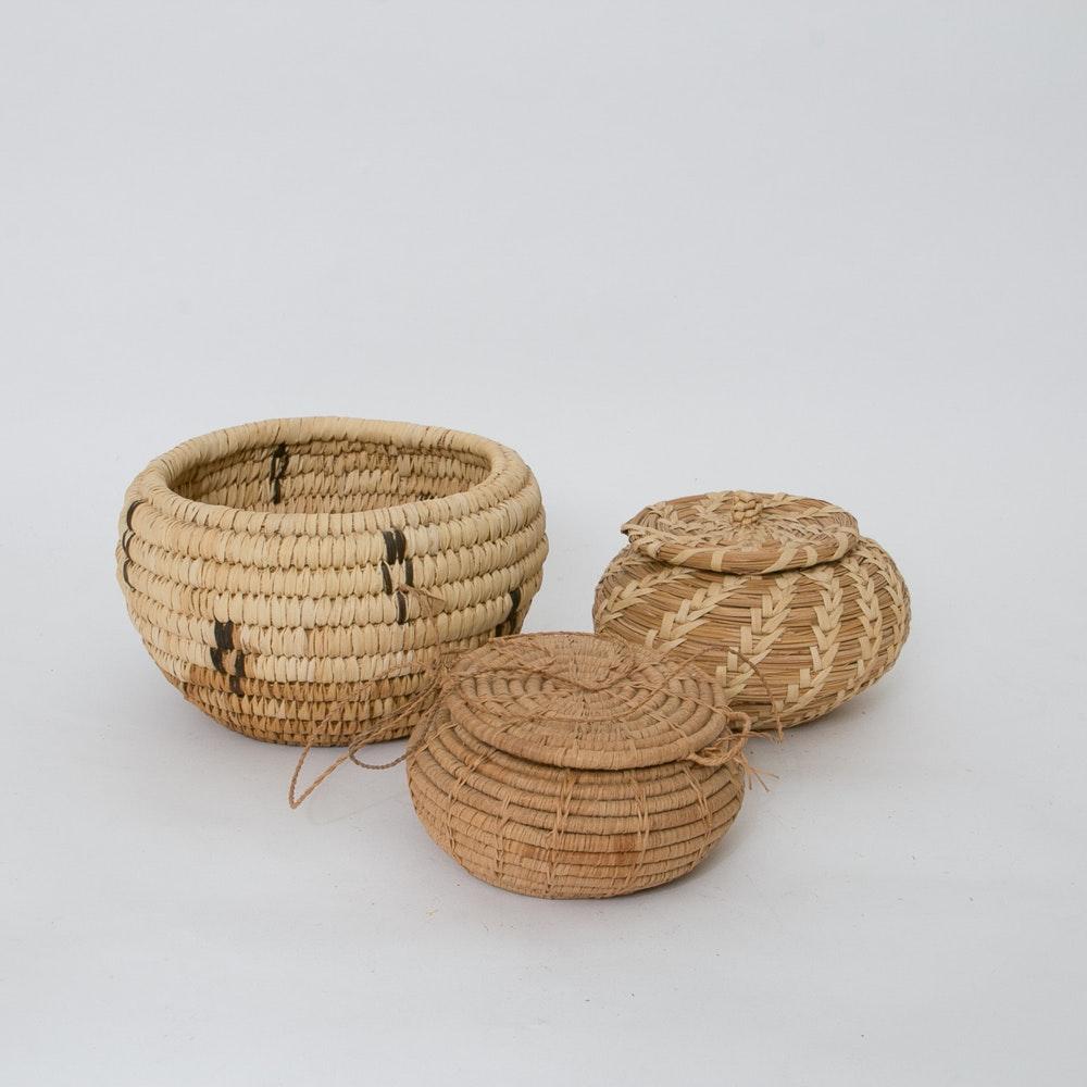 Hand Woven Papago Native American Baskets