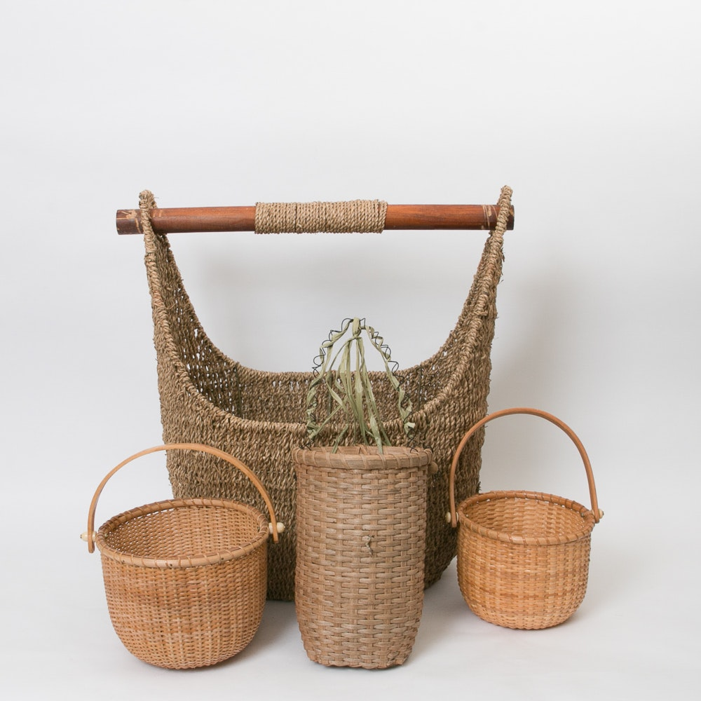 Assortment of Woven Baskets and Tote Bag
