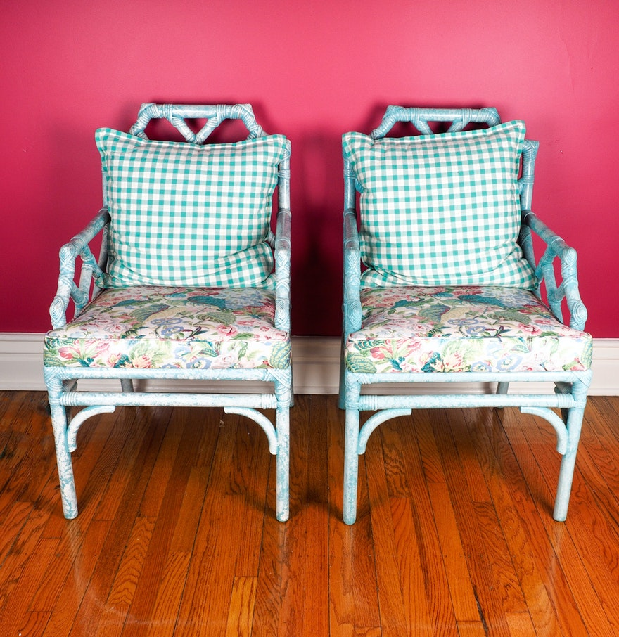 Bamboo arm chairs - Pair Of Hand Painted Bamboo Arm Chairs