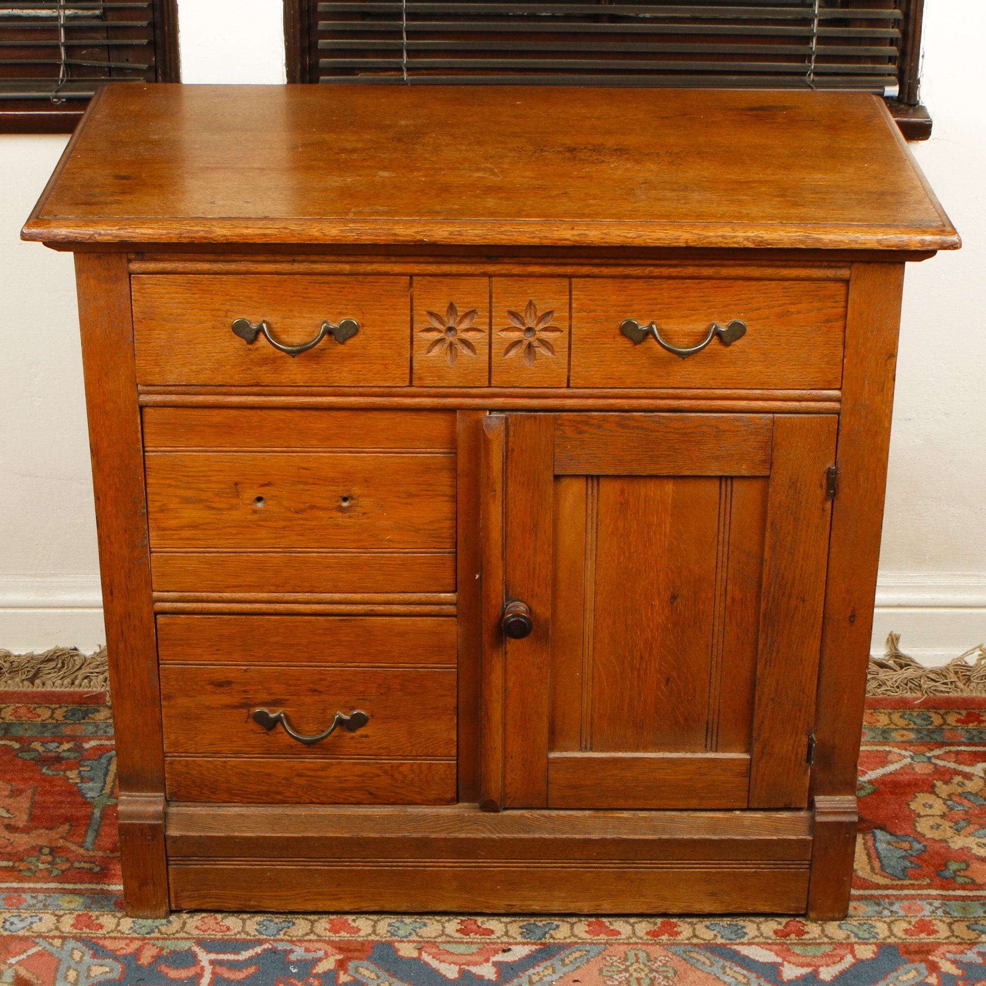 Late Victorian Oak Washstand