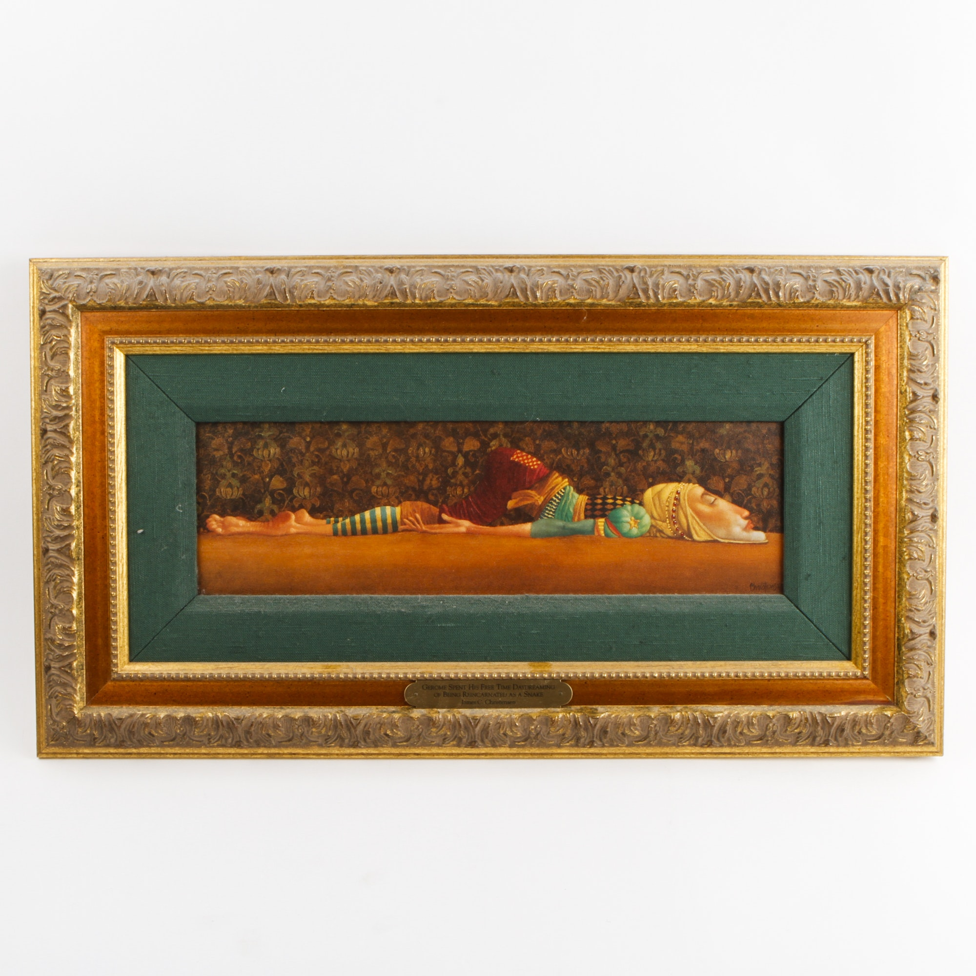 """James C. Christensen Signed Giclee on Canvas """"Gerome Spent His Free Time Daydreaming of Being Reincarnated as a Snake"""""""