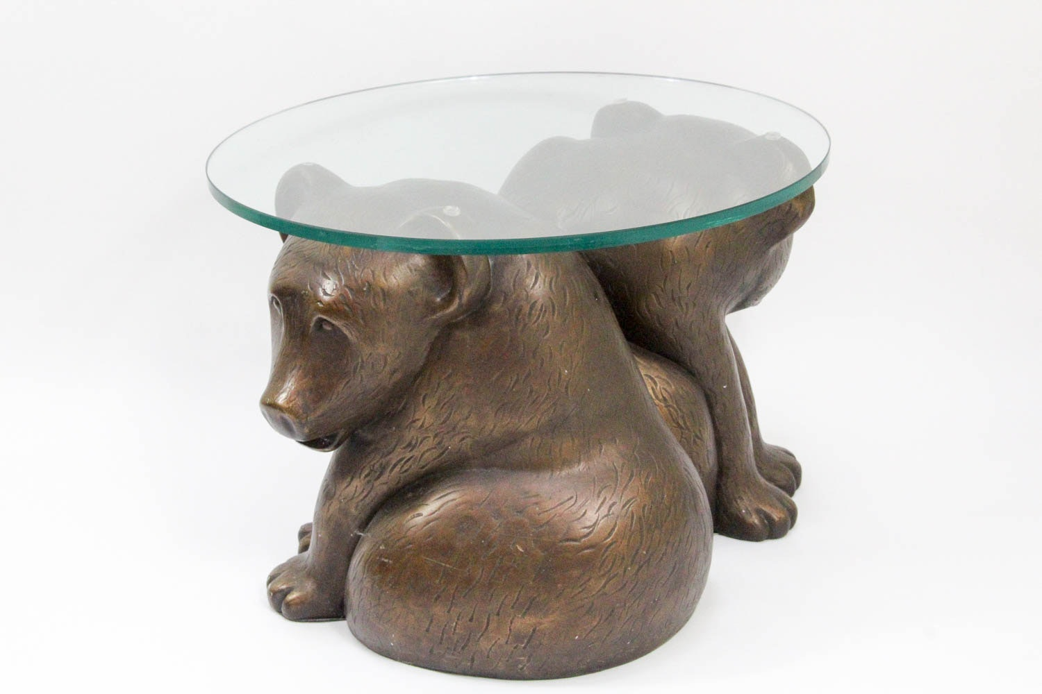 Gentil Glass Top Coffee Table With Bear Cub Base ...