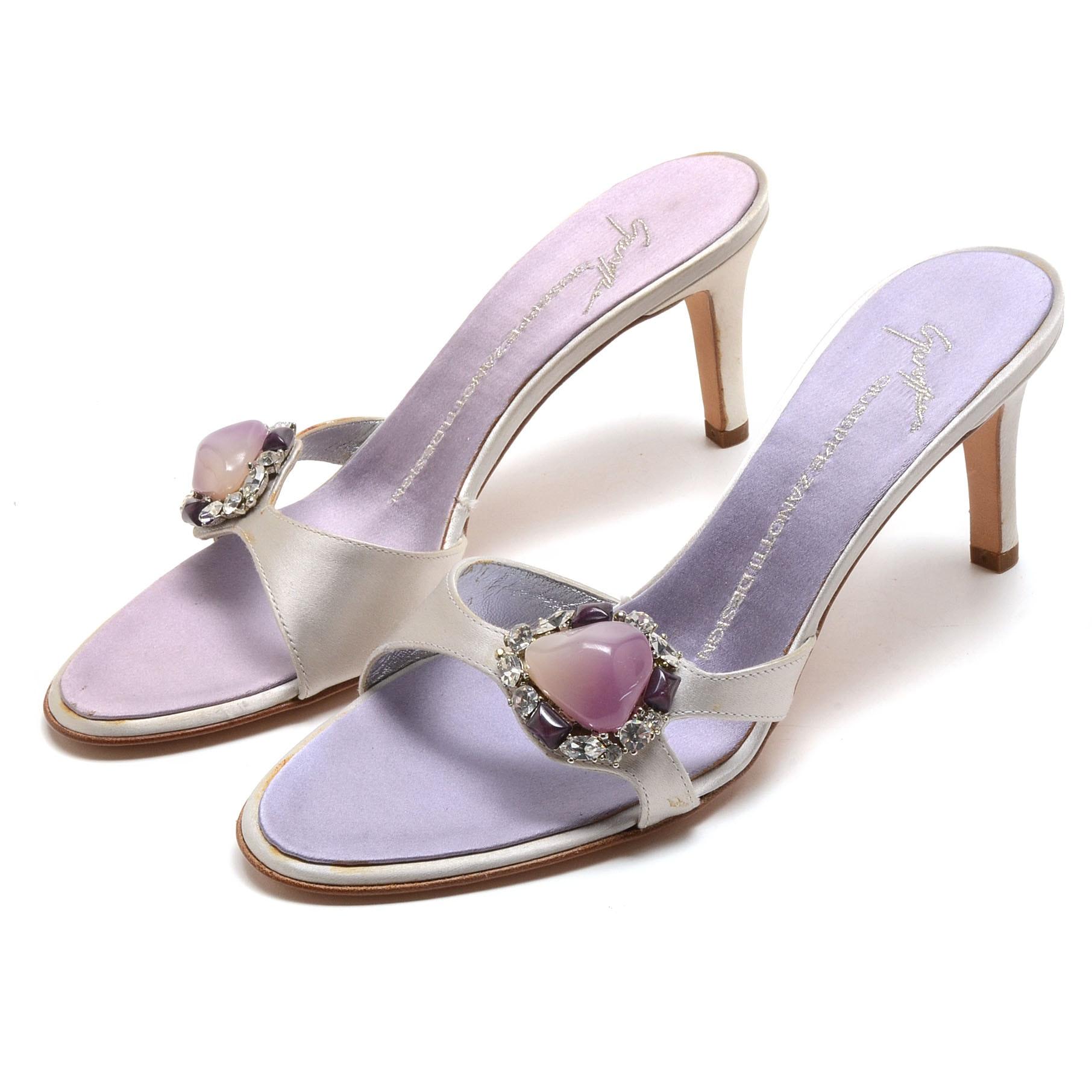 "Vicini Giuseppe Zanotti Design ""Doppiato"" Silver Silky Satin Embellished Slide Dress Sandals"