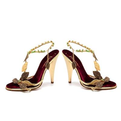 Roberto Cavalli Gold Metallic Leather Sling Back Dress Sandals Embellished with Swarovski Crystals