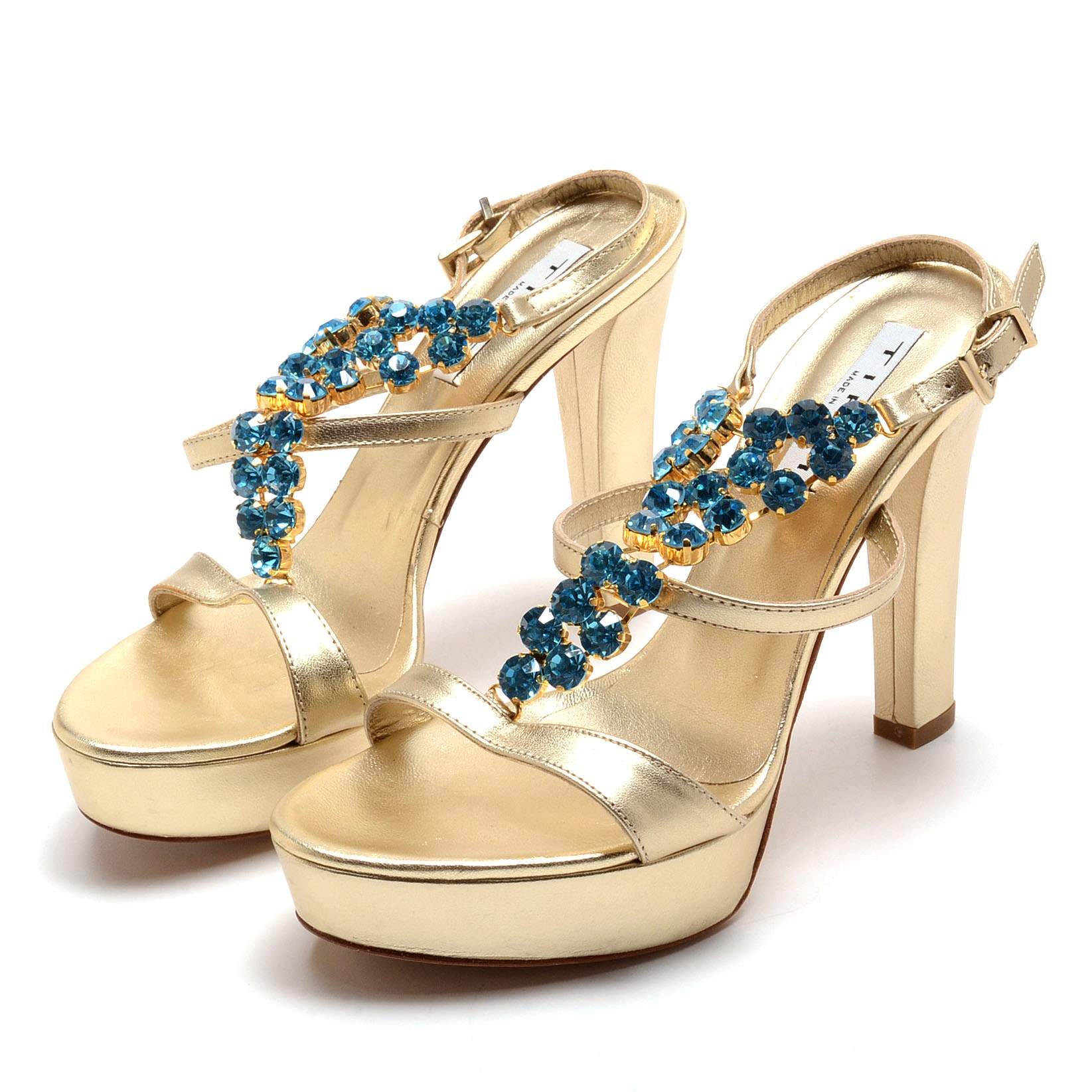 Tiffi Gold Metallic Leather Platform Sling Back Dress Sandals Embellished with Topaz Blue Crystal Rhinestones