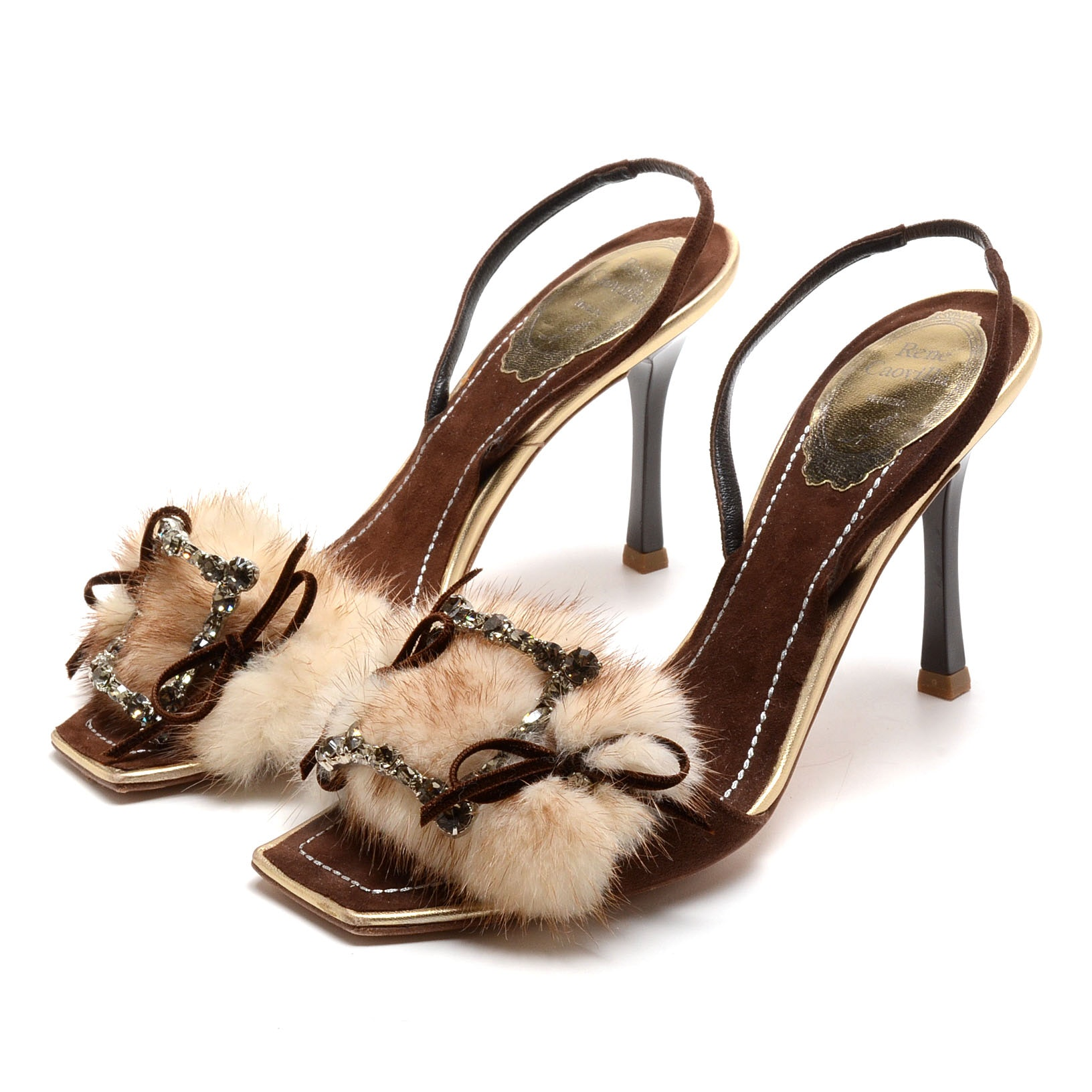 Rene Caovilla Gold Metallic and Brown Suede Leather Sling Back Dress Sandals Embellished with Crystal Rhinestones and Rabbit Fur Puff