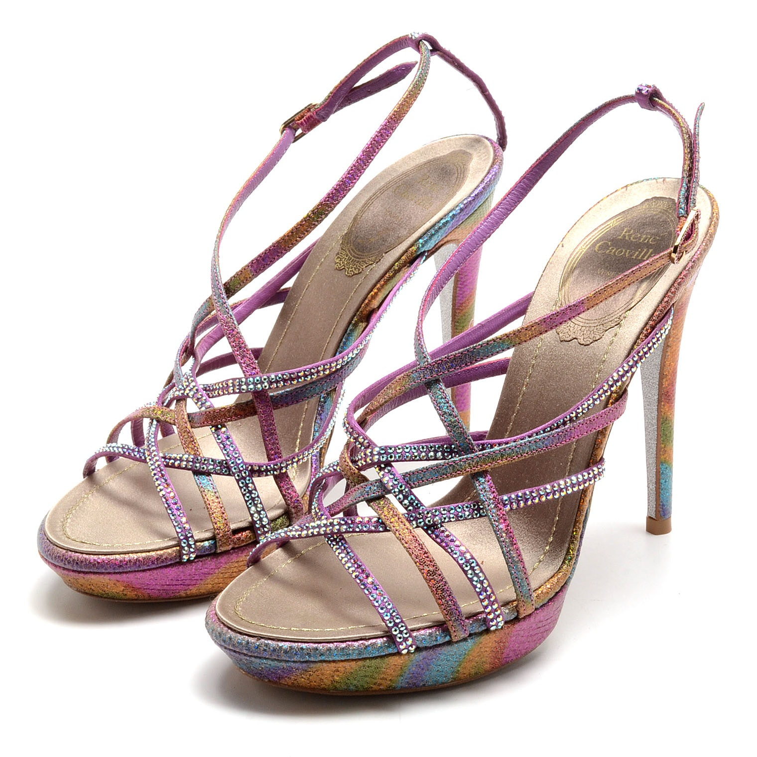 Rene Caovilla Glittery Open Toe Strappy Platform Sling Back Dress Sandals with Aurora Borealis Crystal Rhinestones