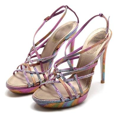 Rene Caovilla Glittery Open Toe Strappy Platform Sling Back Dress Sandals with Aurora Borealis Crystal Rhinestones