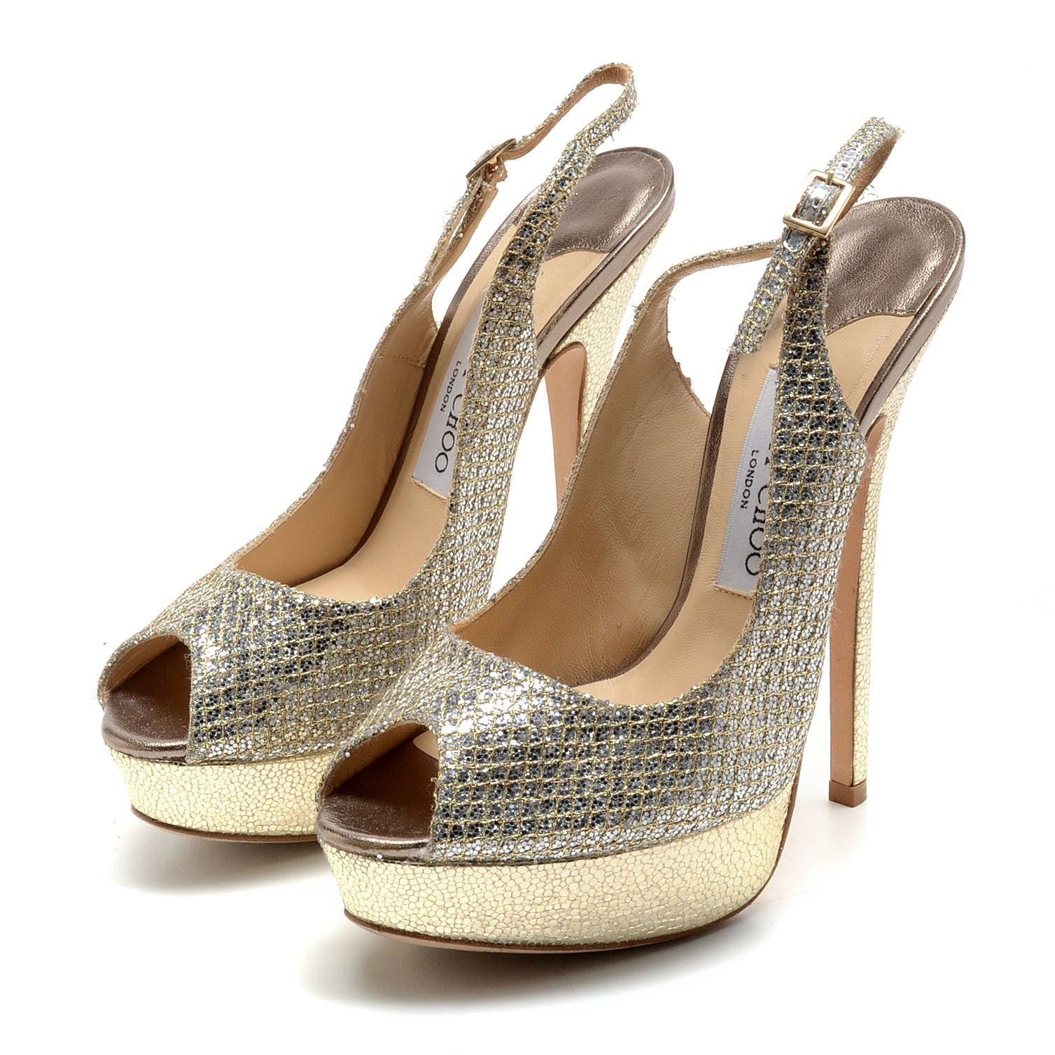 Jimmy Choo of London Silver Sequined Platform Stiletto Peep Toe Sling Backs