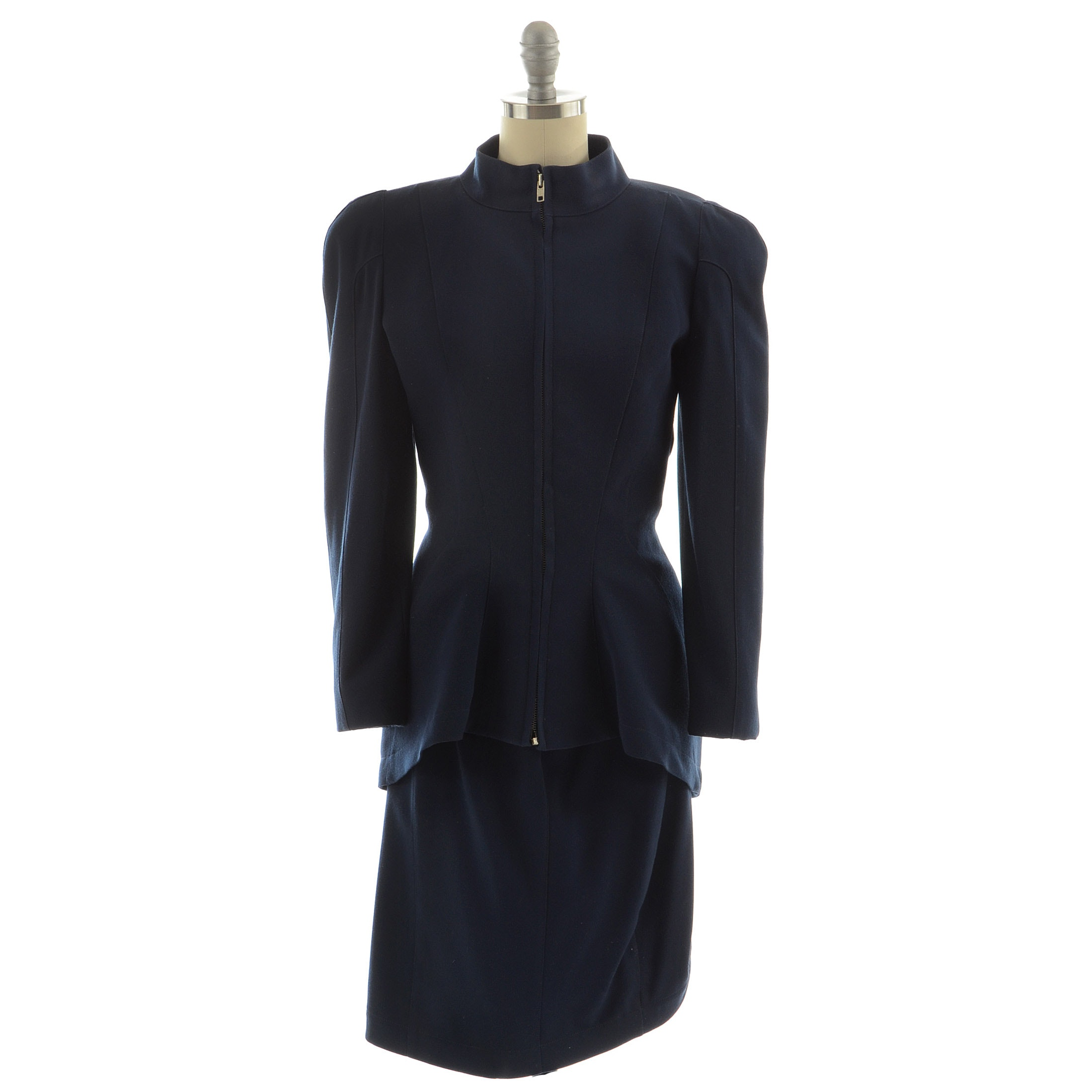 Thierry Mugler of Paris Tailored Zipper Front Jacket and Skirt Set in Navy Blue