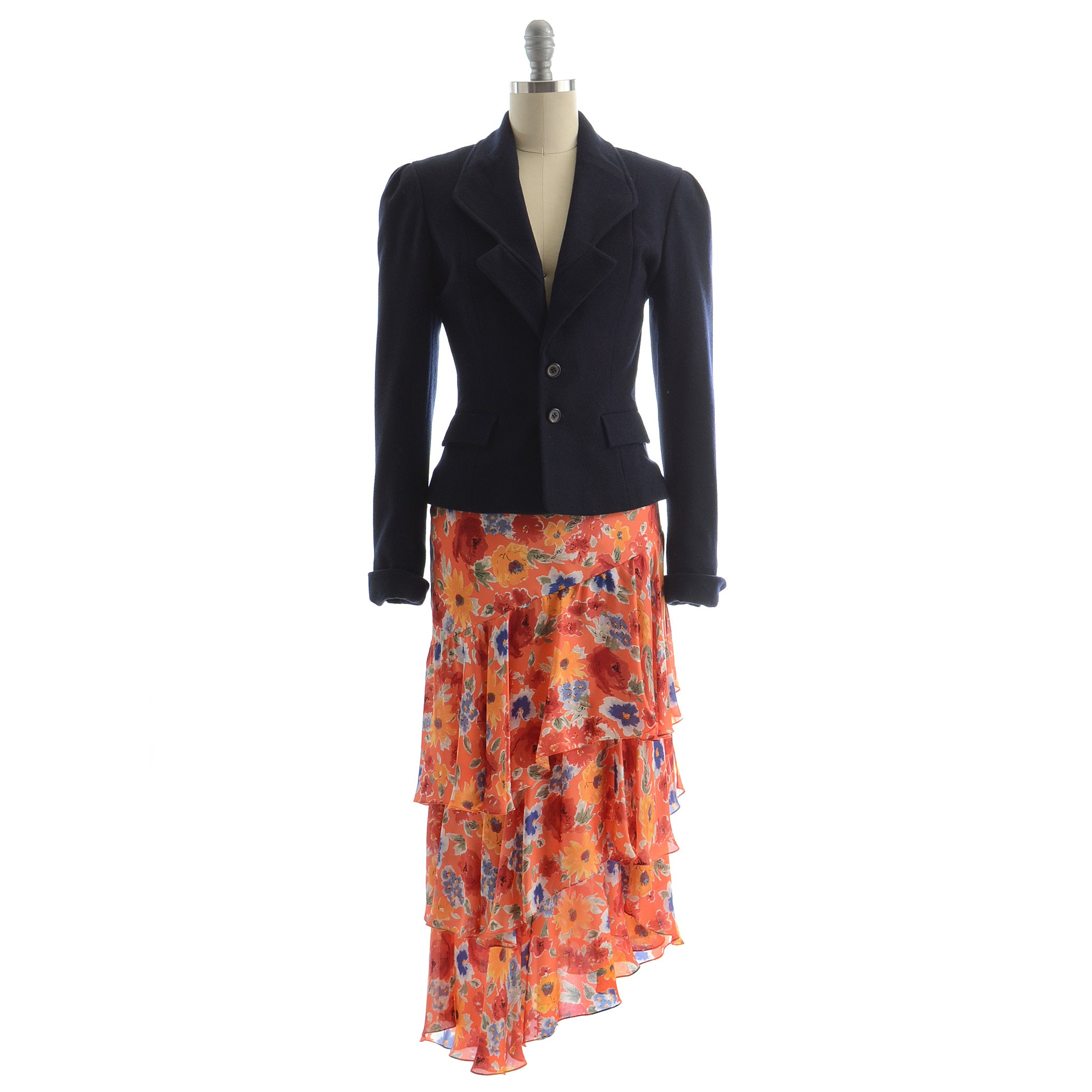 Ralph Lauren Navy Blue Blazer Paired with an Asymmetrical Multi-Color Silk Print Long Skirt with Tiered Ruffles