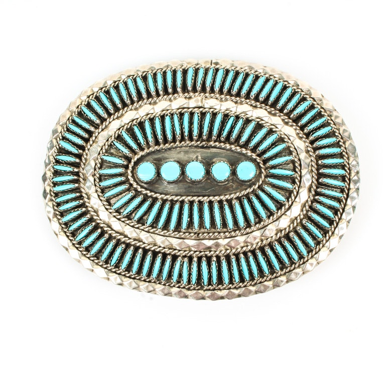 Navajo Sterling Silver and Needlepoint Turquoise Belt Buckle