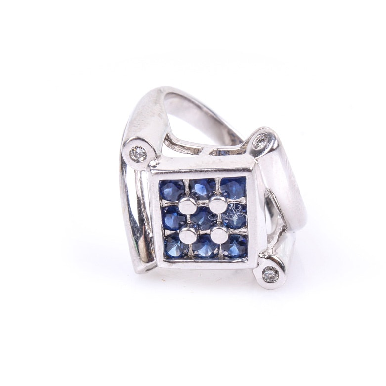 14K White Gold, Sapphire, and Diamond Grid Pattern Ring