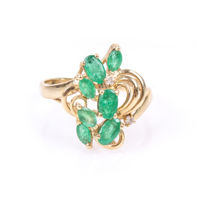 14K Yellow Gold, Emerald, and Diamond Cluster Ring
