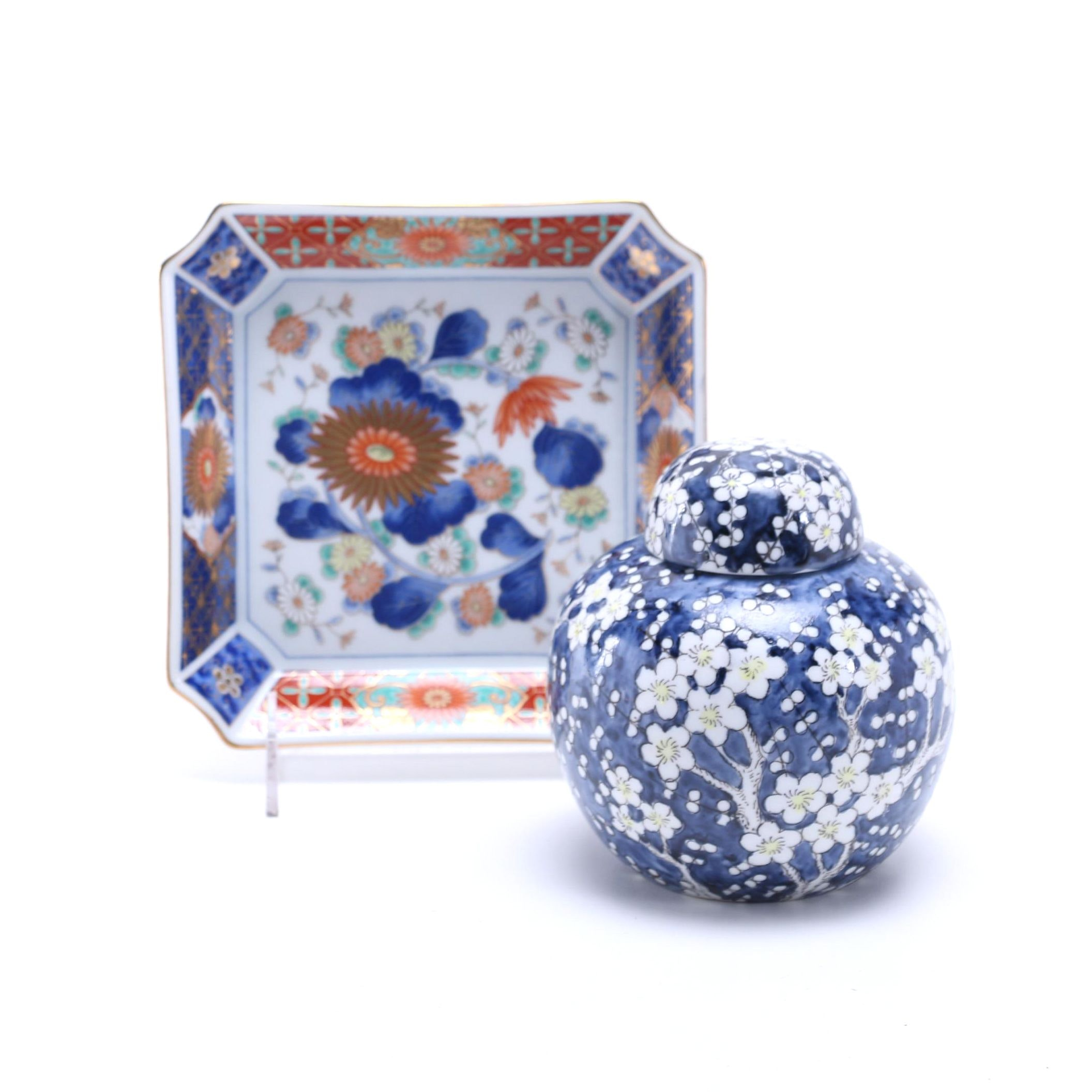 East Asian Hand Painted Porcelain Jar and Plate