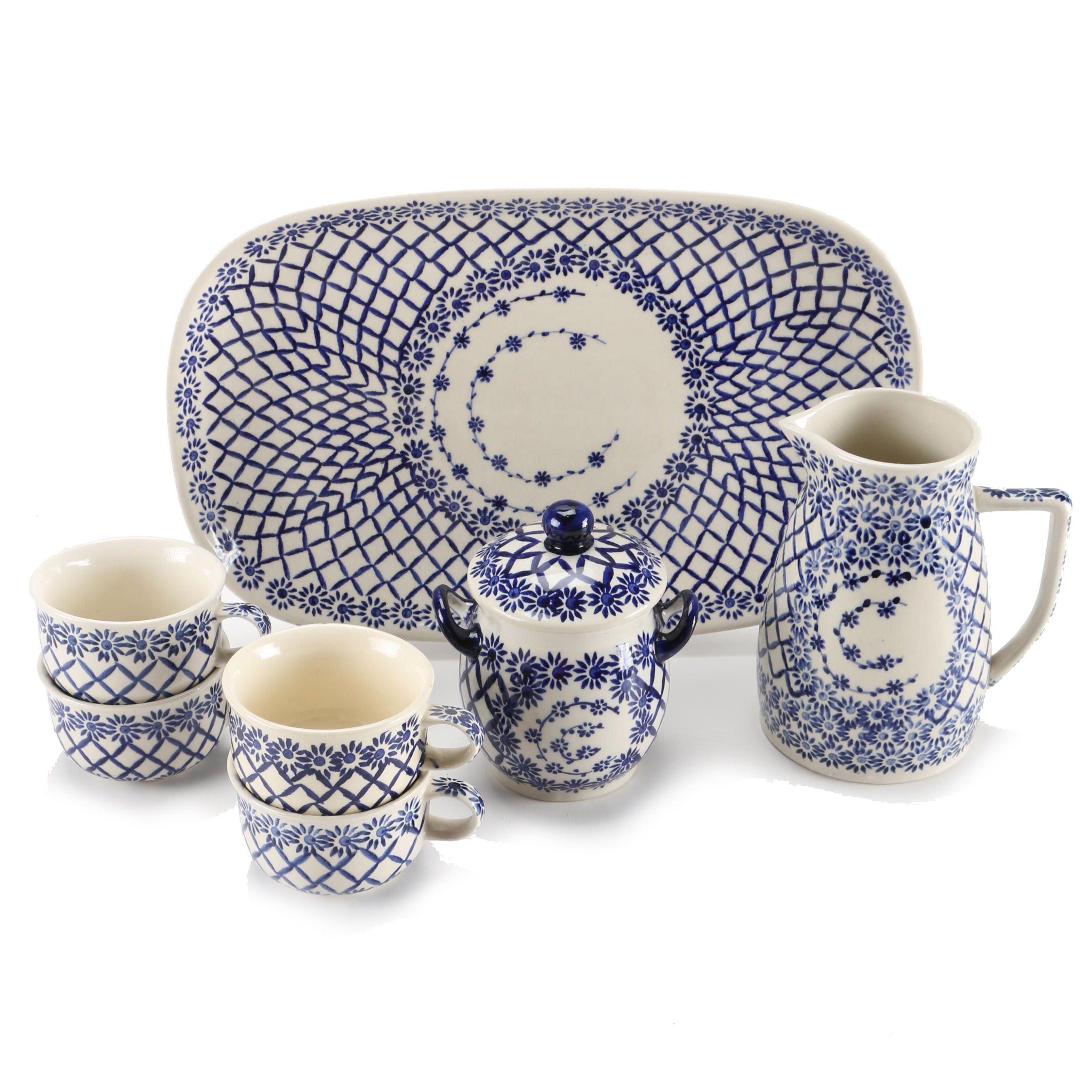 """Heise Original Bunzlau Ceramic Dishes Featuring """"Harlequin"""""""