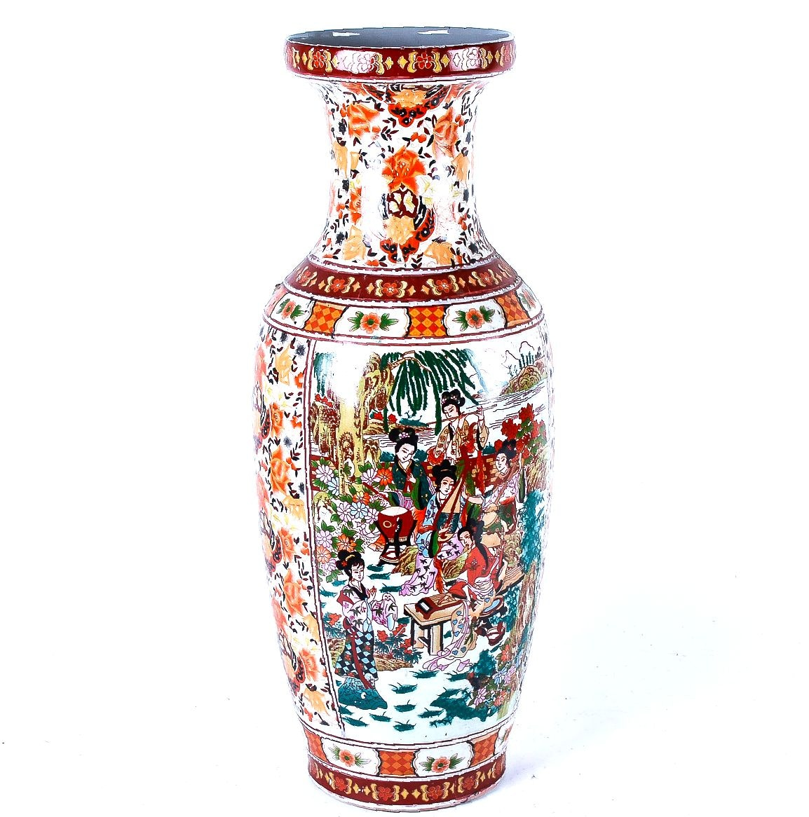 Red and Orange Chinese Porcelain Vase with Floral Motif