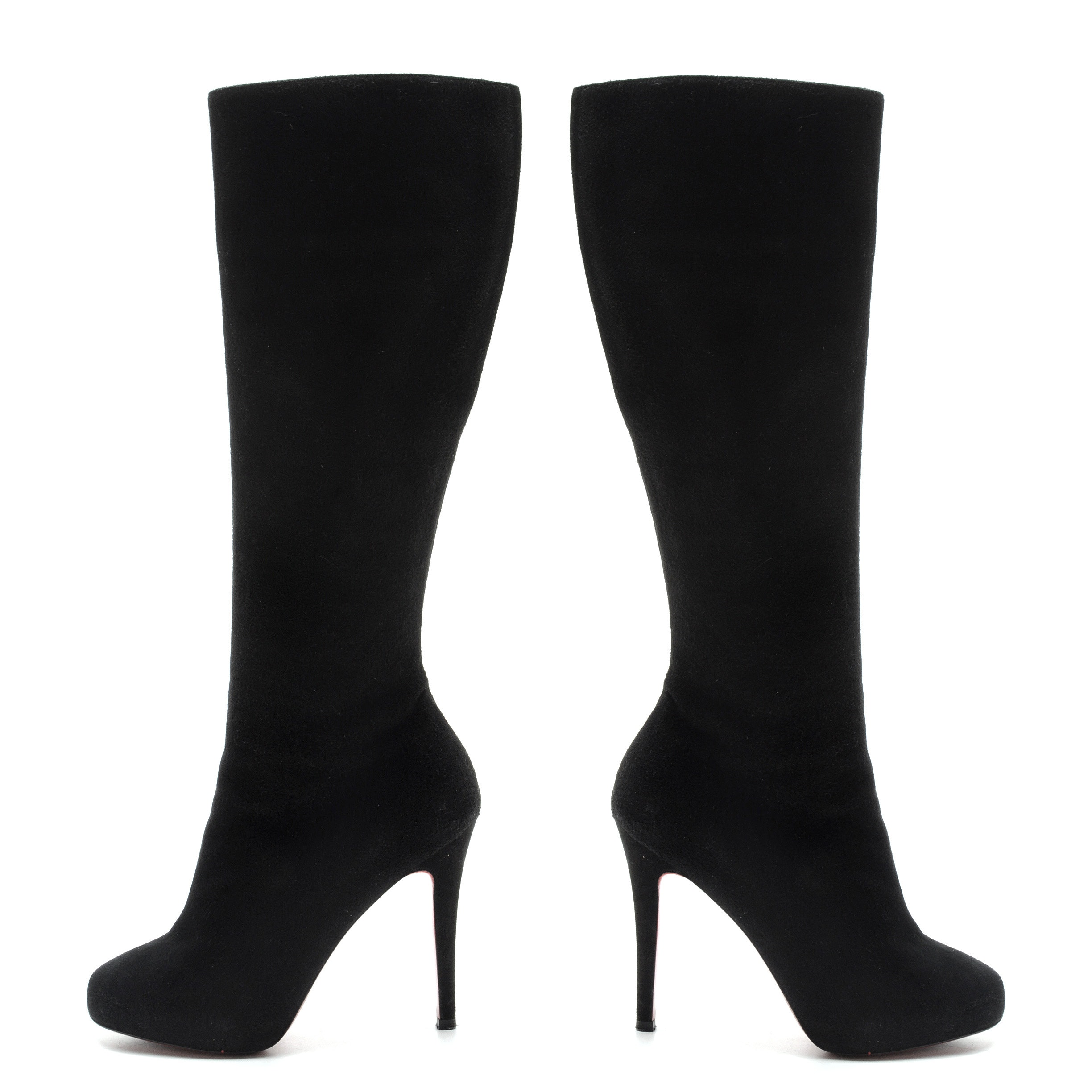 Pair of Christian Louboutin Black Suede Leather Below-The-Knee Zip-Up Boots