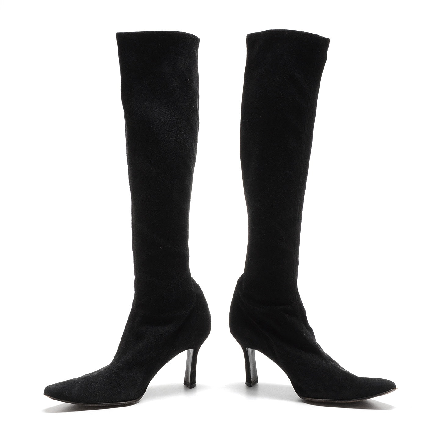 Pair of Stuart Weitzman Black Suede Leather Below-The-Knee Pull-Up Boots