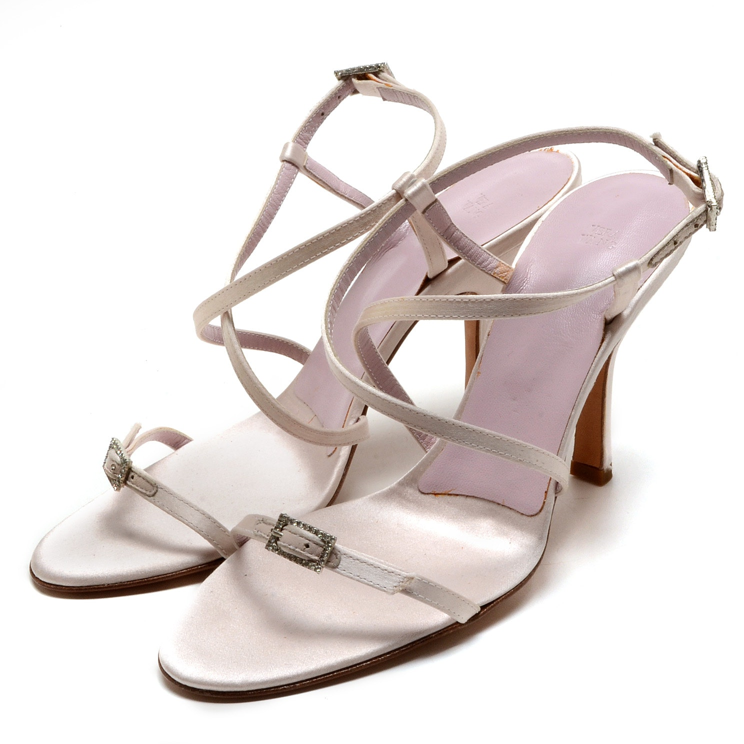 Vera Wang Strappy Dress Sandals in Silky Champagne Lavender Satin and Leather with Rhinestone Encrusted Buckles