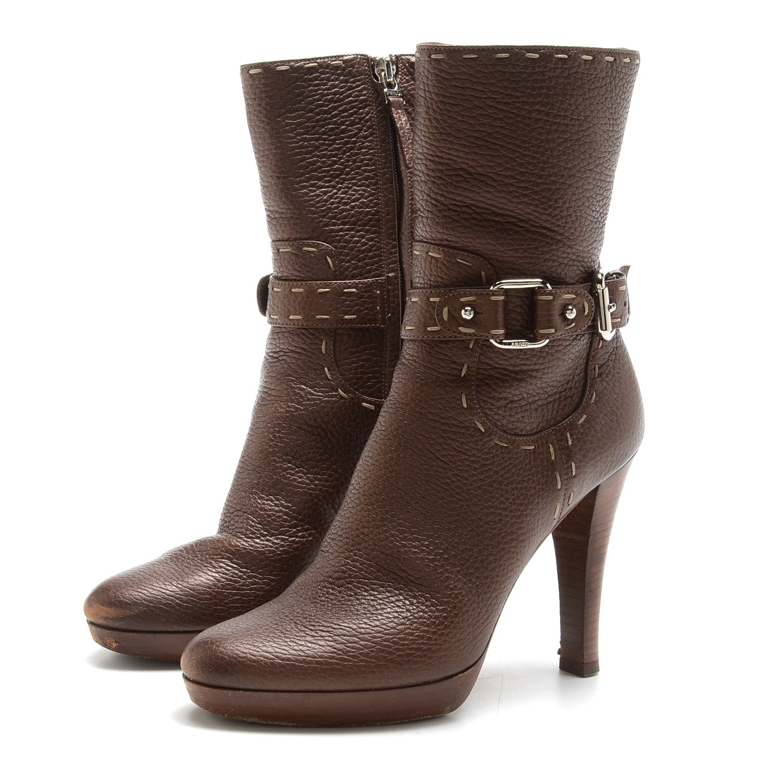 Fendi Brown Pebbled Leather Platform Booties with Buckled Ankle Strap