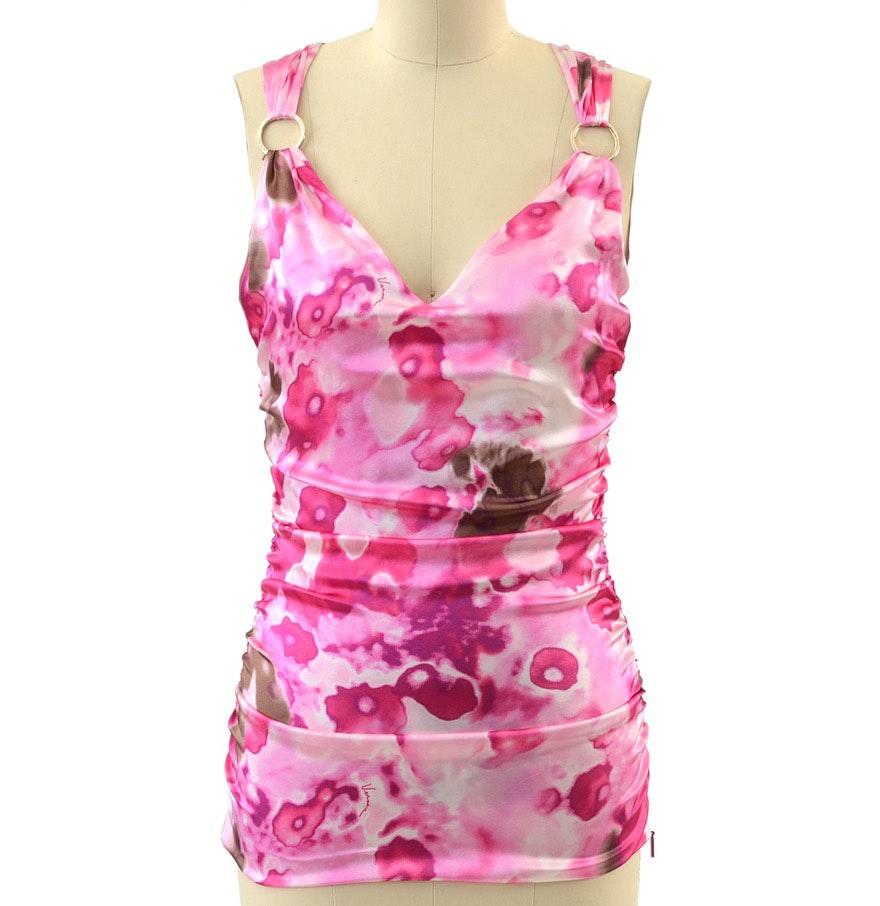 Versace Silk Blend Abstract Print Sleeveless Blouse